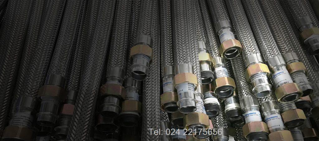 Ống mềm nối đầu phun sprinkler DN25 dài 1000mm có vỏ bện inox áp lực 200psi (14kg/cm2) DJ28B 1500- chứng nhận UL và FM,