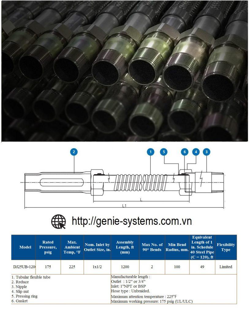 Dây mềm hãng Daejin loại không vỏ bện nối đầu phun sprinkler dài 1200mm