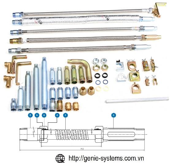 Dây mềm nối đầu phun sprinkler chữa cháy dài 1000mm hãng Daejin sản xuất tại Việt Nam và Hàn quốc