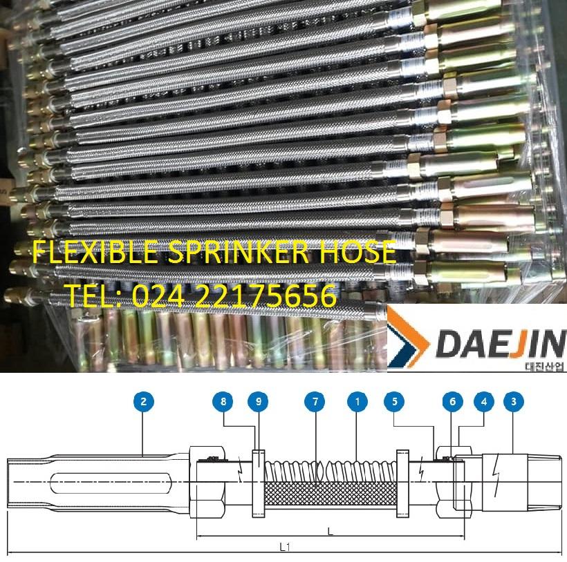 Ống mềm Daejin đạt 14bar có vỏ bện Inox có chứng chỉ FM sản xuất tại Việt Nam