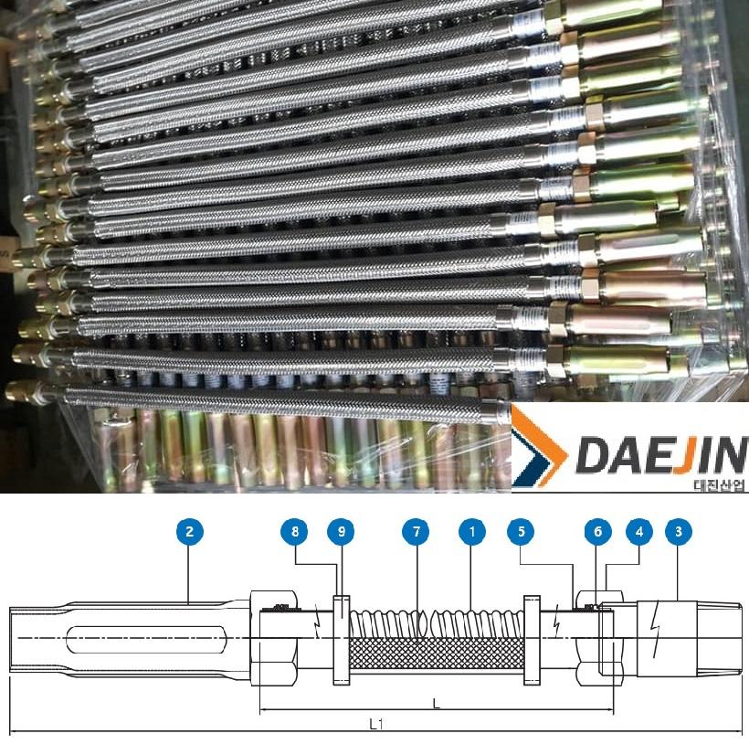 Dây mềm Daejin có vỏ bện Inox đạt áp lực 14bar chứng nhận FM cho loại 700mm 1000mm 12000mm 1500mm 1800mm