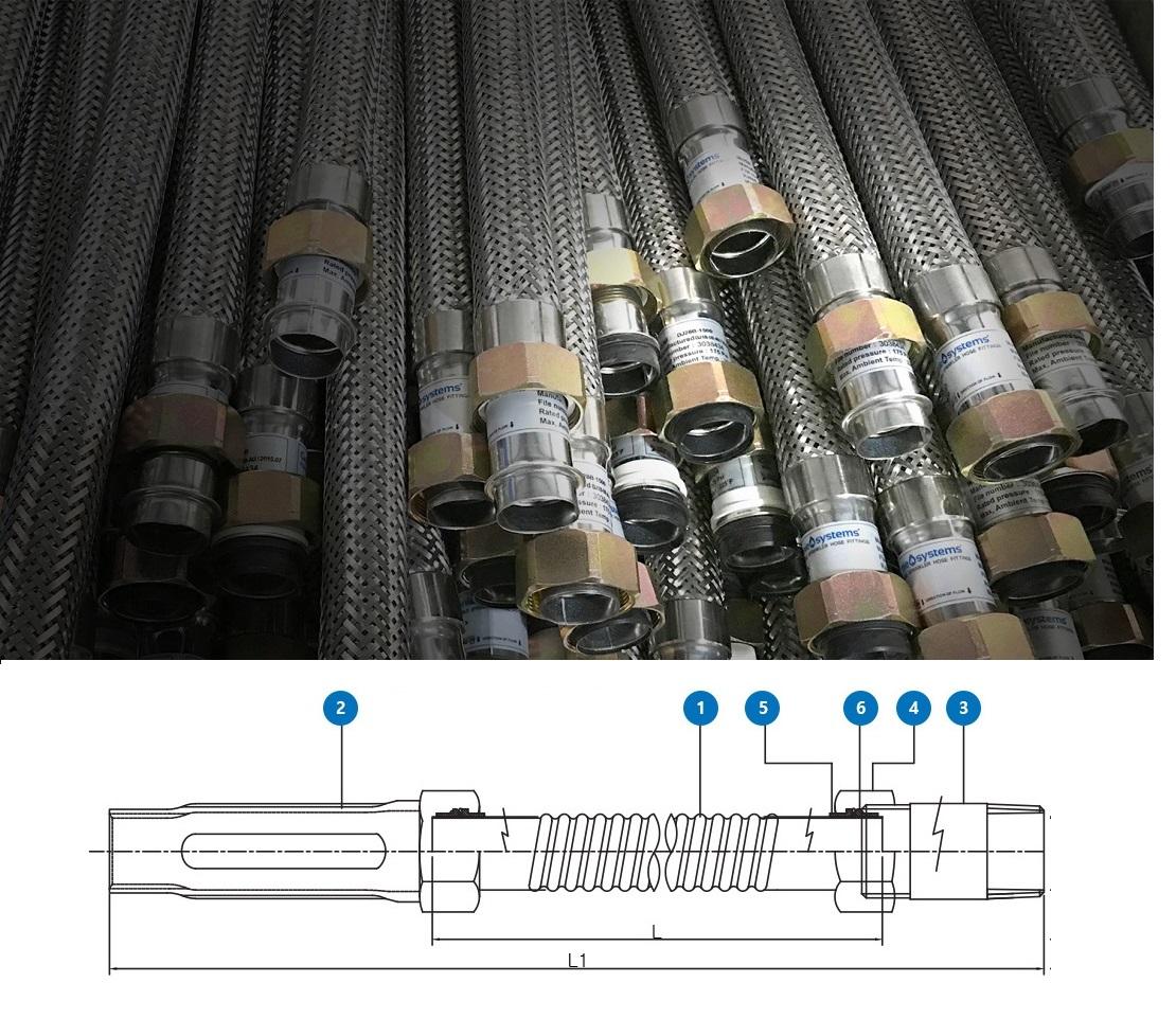 Flexible Sprinkler hose 1000mm 20A 200psi
